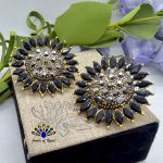 Black Stoned Sunflower Designed Big Statement Party Ear Studs For Women