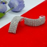 White Rhinestone Studded Korean Style Party Ear Studs For Women