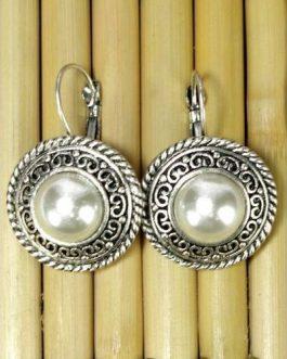 Silver Faux Pearl Stud Earrings For Women