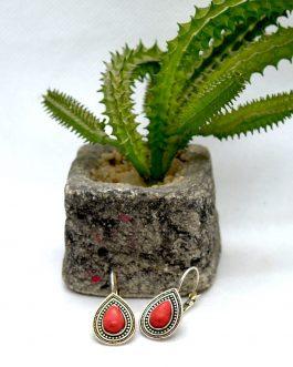 Silver Toned Tibetan Style Lever Back Earrings For Women