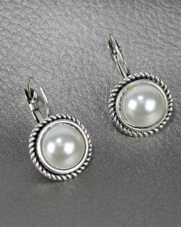 Silver Twisted Faux Drop Hook Earrings