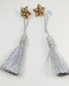 Silver Floral Studded Tasseled Earring (Te_003)