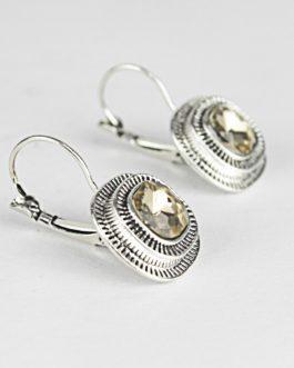 Off White Shiny Stoned Lever-Back Earrings For Women