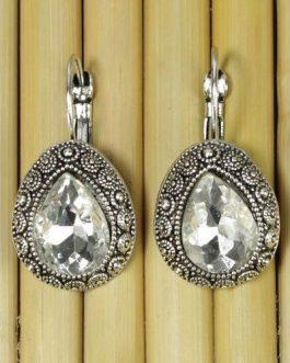 White Crystal Earrings For Women