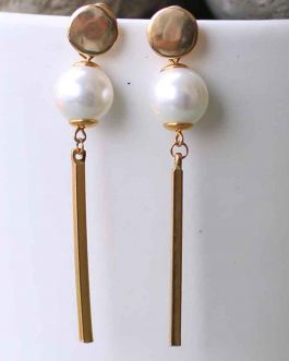 White Faux Pearl Drop Earrings...