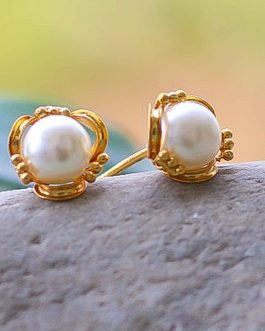 White Faux Pearl Embellished G...