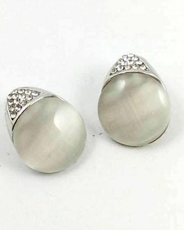 White Faux Pearl Enclosed Studs
