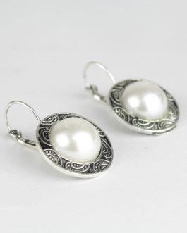 White Pearl Studded Lever-Back Earrings For Women