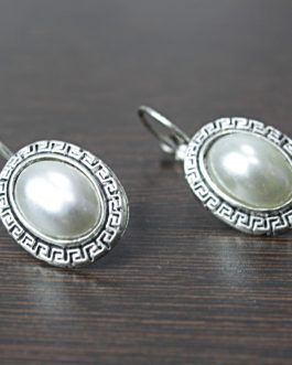 White Pearl Studded Oval Lever-Back Earrings For Women