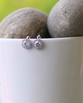 White Stone Embellished Stud Earrings For Women
