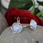 White Stone Enclosed Floral Studs
