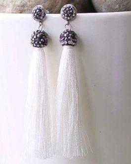 Gray Stone Embellished Tassel Earrings For Women