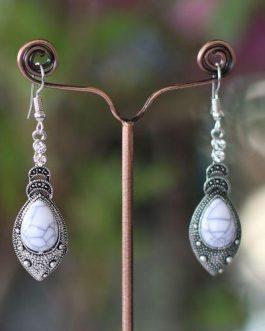 White Textured Tibetan Style Stone Drop Earrings